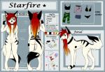 akirageni anthro artic_wolf better_version_at_source clothing collar female feral hair model_sheet red_hair smile solo star starfire_(akirageni) stripes