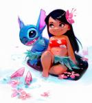 2017 alien black_hair blue_eyes blue_fur blue_nose chest_tuft claws clothing colored_sketch digital_drawing_(artwork) digital_media_(artwork) disney duo_focus experiment_(species) female fish flower fur grass_skirt group hair head_tuft hibiscus human koi lilo_and_stitch lilo_pelekai long_hair mammal marine notched_ear open_mouth open_smile plant rossdraws signature simple_background sitting smile standing stitch tube_top tuft unfinished wakeboard water white_backgroundRating: SafeScore: 11User: BooruHitomiDate: October 07, 2017