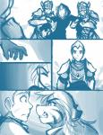 2015 anthro armor cloak clothed clothing comic feline female flora_(twokinds) fur group hair human keidran keiren_(twokinds) male mammal monochrome outside simple_background sketch tiger tom_fischbach trace_legacy twokinds webcomic white_background