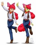 2015 absurd_res alternate_species amber_eyes anthro anthrofied apple_bloom_(mlp) clothing dancing duo equine female friendship_is_magic hair hair_bow hair_ribbon hi_res horse human humanized mammal my_little_pony mykegreywolf pony pose red_hair ribbons