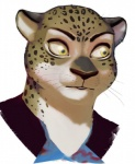 ambiguous_gender anthro disney edit erudier fabienne_growley feline fur leopard mammal portrait reaction_image simple_background solo spots whiskers zootopia