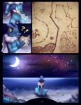 ! <3 ? ambiguous_gender bottle comic constellation crescent_moon darkmirage detailed_background floatzel frogadier fyoshi hi_res map meraence moon night nintendo pokémon pokémon_(species) star video_games water yellow_eyes