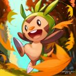 2015 ambiguous_gender archie_adiartama chespin claws digital_2d feral invalid_tag leaves nintendo pokemon_fan pokémon pokémon_(species) smile solo teeth toe_claws tongue tree video_games