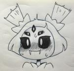 5_eyes animal_humanoid arthropod black_and_white blush fangs female hair_bow hair_ribbon humanoid itimu monochrome muffet multi_eye ribbons smile solo spider_humanoid sweat traditional_media_(artwork) undertale video_games