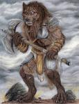 4_toes 5_fingers anthro armor axe barefoot black_nose blind_eye braided_hair brown_fur brown_hair canine claws clothed clothing cloud day detailed digitigrade eye_scar facial_scar fur grass hair hi_res holding_object holding_weapon loincloth male mammal melee_weapon outside overcast pauldron plate_armor rock scar sidonie skimpy sky solo standing teeth toes traditional_media_(artwork) vambraces weapon wolf