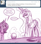 2011 ask_princess_molestia cheating crown dialogue duo english_text equine eyewear feathered_wings feathers female feral friendship_is_magic golf_ball golf_club hair horn john_joseco like_a_boss long_hair magic mammal monochrome my_little_pony princess princess_celestia_(mlp) princess_luna_(mlp) putter royalty sibling sisters sunglasses text tiara tumblr winged_unicorn wings