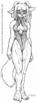 anthro bare_shoulders barefoot breasts canine cleavage clothed clothing dog ear_tuft eyeya female fur half-closed_eyes line_art looking_at_viewer mammal one-piece_swimsuit pigtails solo standing swimsuit tuft