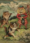 ambiguous_gender anthro bagpipes biped black_fur brown_fur cat clothed clothing cloud detailed_background digitigrade english_text feline fluffy footwear fur grass green_eyes group hat hi_res kilt legwear license_info louis_wain mammal mountain music musical_instrument nature nude open_mouth outside pattern_clothing plaid poetry public_domain puffed_cheeks red_nose ribbons rock running semi-anthro shoes sky socks standing tan_fur tartan_clothing text traditional_media_(artwork) tree white_fur
