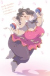 anthro big_breasts black_hair breasts dancing elephant eyes_closed female hair japanese_text kemono long_hair mammal onda_seki open_mouth overweight solo text translatedRating: SafeScore: 7User: GONE_FOREVERDate: July 23, 2015