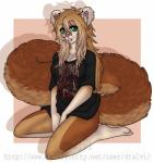 anthro canine clothed clothing dtalvi facial_piercing female fur hair kneeling lip_piercing looking_at_viewer mammal piercing solo thick_thighs
