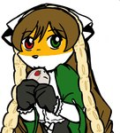 anthro canine female fox furseiseki_(character) green_eyes heterochromia low_res mammal parody red_eyes solo taski