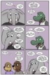 2017 alligator angie_(study_partners) anthro beaver buckteeth clothed clothing comic crocodilian dialogue elephant english_text eyewear fangs female glasses lisa_(study_partners) male mammal mustelid open_mouth otter ragdoll_(study_partners) reptile rodent sarah_(study_partners) scalie speech_bubble study_partners teeth text thunderouserections tongue trunk tusks young