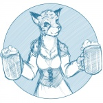 alcohol anthro beer beverage cheetah clothed clothing dress feline female food khajiit looking_at_viewer mammal solo stein the_elder_scrolls tom_fischbach video_games