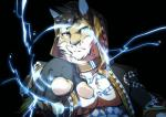 2017 abs anthro cat chest_tuft claws clothed clothing clouded_leopard collar digital_media_(artwork) electricity feline fingerless_gloves fur gloves hair lightning likulau male mammal muscular muscular_male nekojishi open_shirt orzero pecs pointing_at_viewer shirt simple_background solo tattoo tuft
