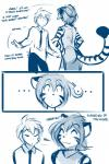 2018 anthro butt chinese_clothing chinese_dress clothed clothing comic dialogue dress duo english_text eyes_closed feline female flora_(twokinds) fur hair hair_bun hands_on_hips hi_res human keidran male mammal monochrome necktie relieved simple_background sketch smile striped_fur stripes text tiger tom_fischbach trace_legacy twokinds webcomic white_backgroundRating: SafeScore: 6User: TendoTwoDate: April 19, 2018