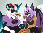 2018 blvejay choker cute eating female food friends horn hybrid mammal pastel_goth pizza slightly_chubby