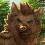2018 anthro black_lips brown_fur brown_hair caraid depth_of_field detailed_background digital_media_(artwork) fangs fur green_eyes hair headshot_portrait hi_res hyena inner_ear_fluff lips looking_at_viewer male mammal outside portrait short_hair smile smirk solo striped_hyena teeth tree yellow_nose