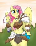 anthro anthrofied atryl barbarian clothed clothing colored digital_media_(artwork) edit equine feathered_wings feathers female fluttershy_(mlp) friendship_is_magic furs hair loincloth long_hair mammal mrponeswildride my_little_pony pegasus pink_hair simple_background solo wings