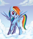 blue_feathers blue_fur cloud cutie_mark equine feathered_wings feathers female feral friendship_is_magic fur hair mammal multicolored_hair multicolored_tail my_little_pony pegasus ponykillerx purple_eyes rainbow_dash_(mlp) rainbow_hair rainbow_tail smile solo wings