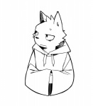 anthro black_and_white canine clothed clothing dog fffffolder front_view fur hi_res hoodie line_art looking_aside male mammal monochrome simple_background solo sweater thinking toony white_background