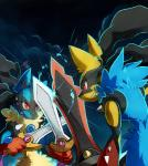 2014 aegislash alternate_color ambiguous_gender anthro blue_fur canine doublade dual_wielding fight fur holding_object holding_weapon lazyamphy mammal mega_evolution mega_lucario melee_weapon nintendo pokémon pokémon_(species) red_eyes shiny_pokémon smile sparks sweat sword video_games weapon yellow_fur