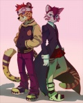 akitamonster anthro blue_eyes cheetah clothed clothing duo feline fur male mammal spots spotted_fur standing tigerRating: SafeScore: 0User: MillcoreDate: April 24, 2017