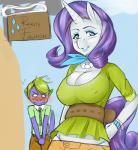 2015 anthro anthrofied big_breasts blue_eyes breasts cleavage clothed clothing dragon duo english_text equine eyebrows eyelashes eyeshadow female friendship_is_magic green_hair hair hand_on_hip hi_res horn jewelry lipstick looking_at_viewer makeup male mammal my_little_pony necklace nipple_bulge outside rarity_(mlp) rirouku scalie sign spike_(mlp) text unicornRating: SafeScore: 4User: lemongrabDate: June 21, 2017