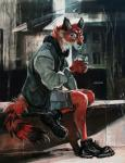 anthro blue_eyes canine class claws clothed clothing detailed_background footwear fox fur hriscia jacket looking_at_viewer male mammal plantigrade red_fox red_fur shoes shorts sitting solo traditional_media_(artwork) whiskers