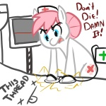 + blue_eyes cutie_mark defibrillator earth_pony english_text equine female feral friendship_is_magic hair horse low_res mammal medical mt my_little_pony nurse nurse_redheart_(mlp) pink_hair pony reaction_image text