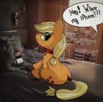 ! 2018 ? applejack_(mlp) bed bed_sheet bedding bedroom blonde_hair building butt cellphone city collar curtains cute cutie_mark dialogue earth_pony english_text equine eyelashes female feral freckles friendship_is_magic green_eyes hair hair_tie hi_res hooves horse inside looking_back mammal mixed_media my_little_pony name_tag nude on_bed pet phone photo pillow pony real shadow sitting skyscraper snowjack18 solo_focus speech_bubble sunlight tail_wraps text unseen_character window wrapsRating: SafeScore: 2User: GlimGlamDate: April 13, 2018