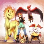 2016 absurd_res ambiguous_gender anthro avian braixen canine clothed clothing crossover equestria_girls equine fangs feathered_wings feathers female fire flaming_tail group hair hi_res holding_object holding_pokéball hooves horn human inner_ear_fluff jacket leather leather_jacket legendary_pokémon long_hair mammal multicolored_hair my_little_pony mykegreywolf nintendo one_eye_closed open_mouth pokéball pokémon pokémon_(species) rapidash stick sunset_shimmer_(eg) talonflame talons team_pose two_tone_hair v_sign victini video_games wings wink