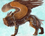 ambiguous_gender avian brown_feathers brown_fur canine feathered_wings feathers feral fur lyanti mammal markings solo unusual_coloring wings