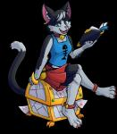 alpha_channel anklet anthro bell black_fur blue_eyes book bookmark breasts cat choker claws clothed clothing collar colored_nails crusaders_of_the_lost_idols dipstick_tail domestic_cat ear_piercing fangs feline female fully_clothed fur holding_book holding_object humanoid_hands jewelry karen_the_cat_teenager kristkc looking_at_viewer mammal markings multicolored_tail piercing pink_nose portrait pouch reading shirt simple_background sitting skirt smile socks_(marking) solo tank_top teenager test_paper toe_claws transparent_background treasure_chest white_belly white_markings youngRating: SafeScore: 4User: SnowWolfDate: February 28, 2018
