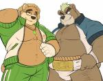 2017 5_fingers anthro ashigara bear clothed clothing drks duo eyebrows eyewear facial_hair front_view glasses hat looking_at_viewer male mammal mohawk muscular muscular_male open_shirt overweight simple_background slightly_chubby smile standing straw_hat sumo_wrestler tokyo_afterschool_summoners volos white_backgroundRating: SafeScore: 5User: Mario69Date: January 19, 2018