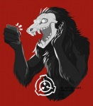 2015 ambiguous_gender black_fur canine cellphone fur logo mammal monochrome monster phone red_background scp-1471 scp_foundation selfie simple_background skull solo the-shy-guy-art undead
