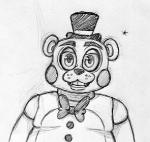 2015 animatronic anthro bear black_and_white bow_tie five_nights_at_freddy's five_nights_at_freddy's_2 hat inkyfrog looking_at_viewer machine male mammal monochrome robot simple_background smile solo top_hat toy_freddy_(fnaf) video_games white_background
