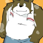 anthro bear black_nose brown_fur clothed clothing cute fur green_bell looking_at_viewer low_res male mammal orange_background overweight simple_background smile solo towel white_bellyRating: SafeScore: 4User: The Dog In Your GuitarDate: March 25, 2007