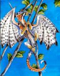 2012 ambiguous_gender bird_dragon black_scales branch brown_eyes dragon feral heather_bruton leaf membranous_wings orange_scales scales solo white_scales wings yellow_scales