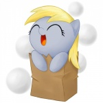 2012 bag blonde_hair blue_skin chibi cute derpy_hooves_(mlp) digital_media_(artwork) dotted_background equine eyelashes eyes_closed female feral friendship_is_magic front_view hair happy headshot_portrait horse mammal my_little_pony open_mouth open_smile paper_bag pattern_background pony portrait simple_background smile solo stardustxiii white_background young