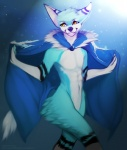 angiewolf anthro blue_fur cape clothing fur male mammal navel orange_eyes simple_background smile solo standing wide_hipsRating: SafeScore: 2User: MillcoreDate: March 22, 2017