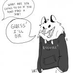 2016 absurd_res ambiguous_gender anthro clothed clothing dialogue drawdroid english_text fully_clothed greyscale hi_res hoodie ian_(drawdroid) line_art mammal marsupial monochrome open_mouth opossum sharp_teeth simple_background speech_bubble standing teeth text the_truth tongue unseen_character white_background