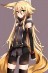 animal_humanoid armwear belt bike_shorts blonde_hair blush canine clothing elbow_gloves female fingerless_gloves fox fox_humanoid gloves green_eyes haik hair hi_res humanoid long_hair mammal multi_tail shorts solo