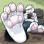 anthro artie blue_eyes claws clothed clothing cute foot_focus fur hindpaw kencougr male nintendo nintendo_ds paws solo topless video_games white_fur