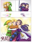 a_link_between_worlds alderion-al blonde_hair blue_eyes comic falling green_eyes green_headwear group group_hug hair hi_res hug humor link motion_blur nintendo not_furry one_eye_closed oops ouch princess_hilda princess_zelda purple_hair ravio red_eyes running surprise the_legend_of_zelda video_games