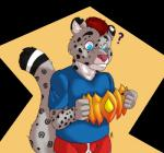 2017 5_fingers ? abstract_background anthro black_fur blue_clothing blue_eyes blue_pupils blue_shirt blue_topwear clothed clothing digital_drawing_(artwork) digital_media_(artwork) feline fur grey_fur hair leopard male mammal multicolored_fur multicolored_tail red_clothing red_hair red_underwear shirt simple_background snow_leopard solo spots spotted_fur striped_tail stripes thedecisivepanda underwear variun white_fur