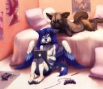 2013 4_toes anthro apple_inc. barefoot bed bedroom biped black_fur black_nose black_tail blue_eyes blue_feathers blue_fur blue_hair blue_nose blue_tail brown_bottomwear brown_clothing brown_fur brown_shorts canine claws clothed clothing computer controller cross_fox detailed_background digital_media_(artwork) duo feathered_wings feathers female fluffy fluffy_tail fox fur game_controller grey_claws grey_fur hair inside laptop long_hair lying male mammal multicolored_feathers multicolored_fur multicolored_tail on_bed on_front orange_eyes pencil_(object) pillow poster rayis shirt shorts sitting smile snowaro tala_(suntattoowolf) tank_top toe_claws toes topless two_tone_fur two_tone_tail white_feathers white_fur white_tail wings wolf