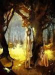 absurd_res barefoot brown_hair detailed_background duo fairy female forest hair hi_res insect_wings long_ears long_hair looking_at_viewer mammal nature not_furry outside pointy_ears tree unknown_artist wings young