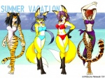 2000 4:3 anthro beach breasts canine clothing feline female fox group kitsune_netsuki leopard mammal outside seaside summer swimsuit tiger wallpaper