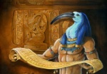 abs animal_head anthro armlet avian beak blue_feathers blue_hair deity detailed egyptian egyptian_mythology feathers hair heather_bruton hieroglyphics holding_object ibis jewelry low_res male necklace nipples nude scroll solo tan_skin thoth