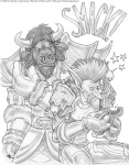anthro armor bovine duo facial_piercing greyscale humanoid humor kyoht_luterman male mammal monochrome nose_piercing pencil_(artwork) piercing septum_piercing tauren traditional_media_(artwork) troll video_games warcraft